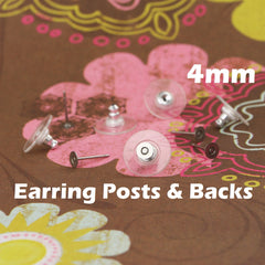 4mm Earring Posts and Backs