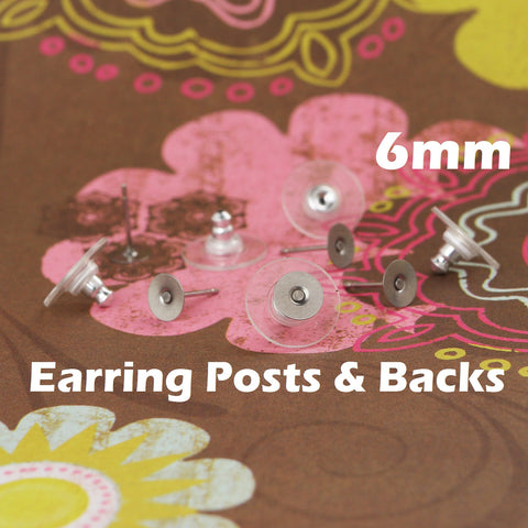 6 mm Stainless Steel Earring Posts and Backs with Glue Pads