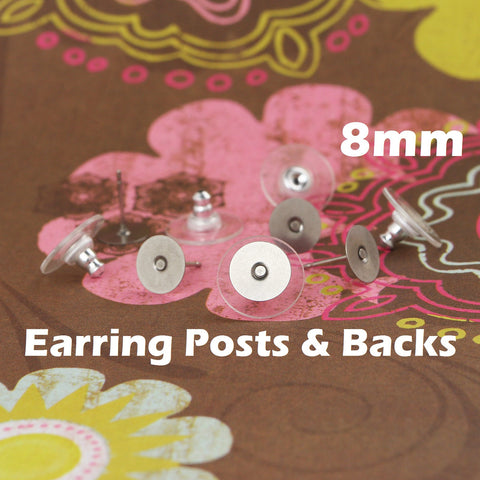 8 mm Stainless Steel Earring Posts and Backs with Glue Pads