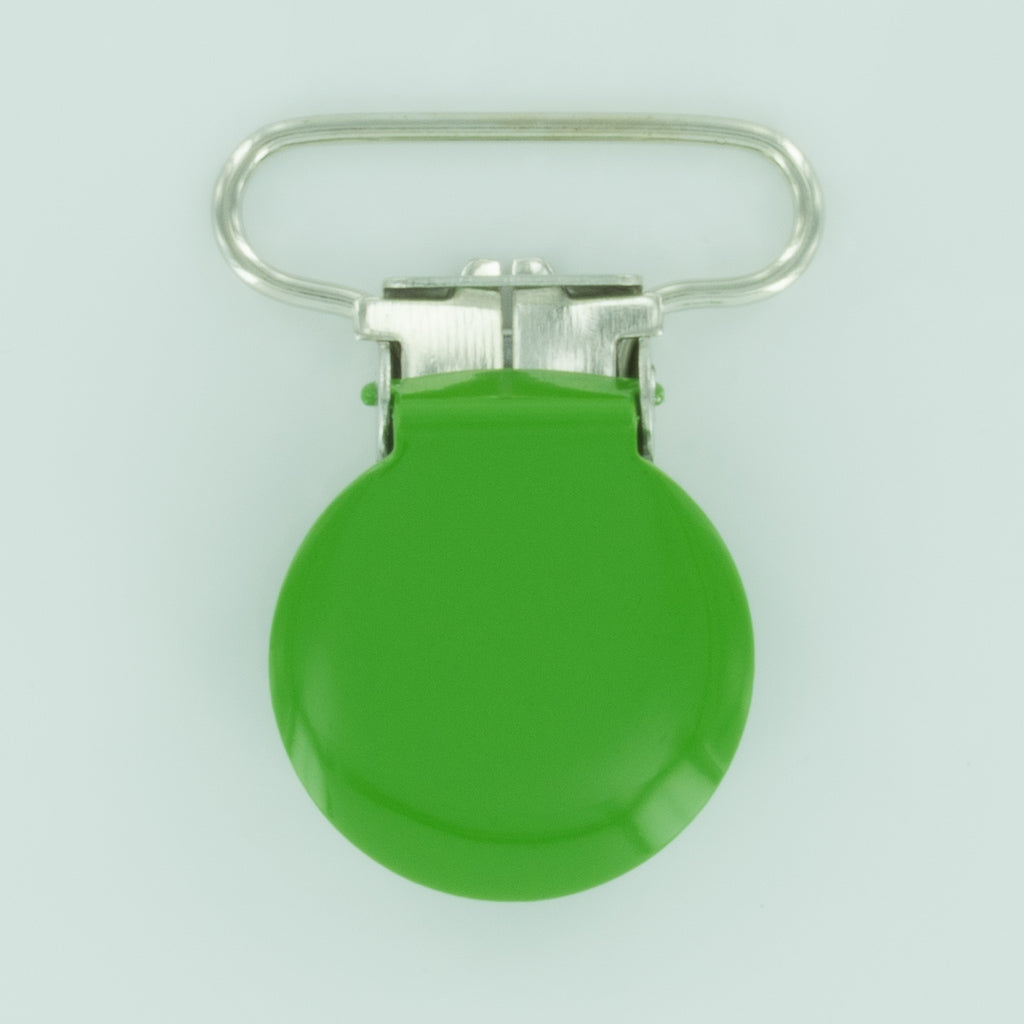 "1"" (25mm) Round Shaped Enameled Metal Clips (B14 - Spring Green)"
