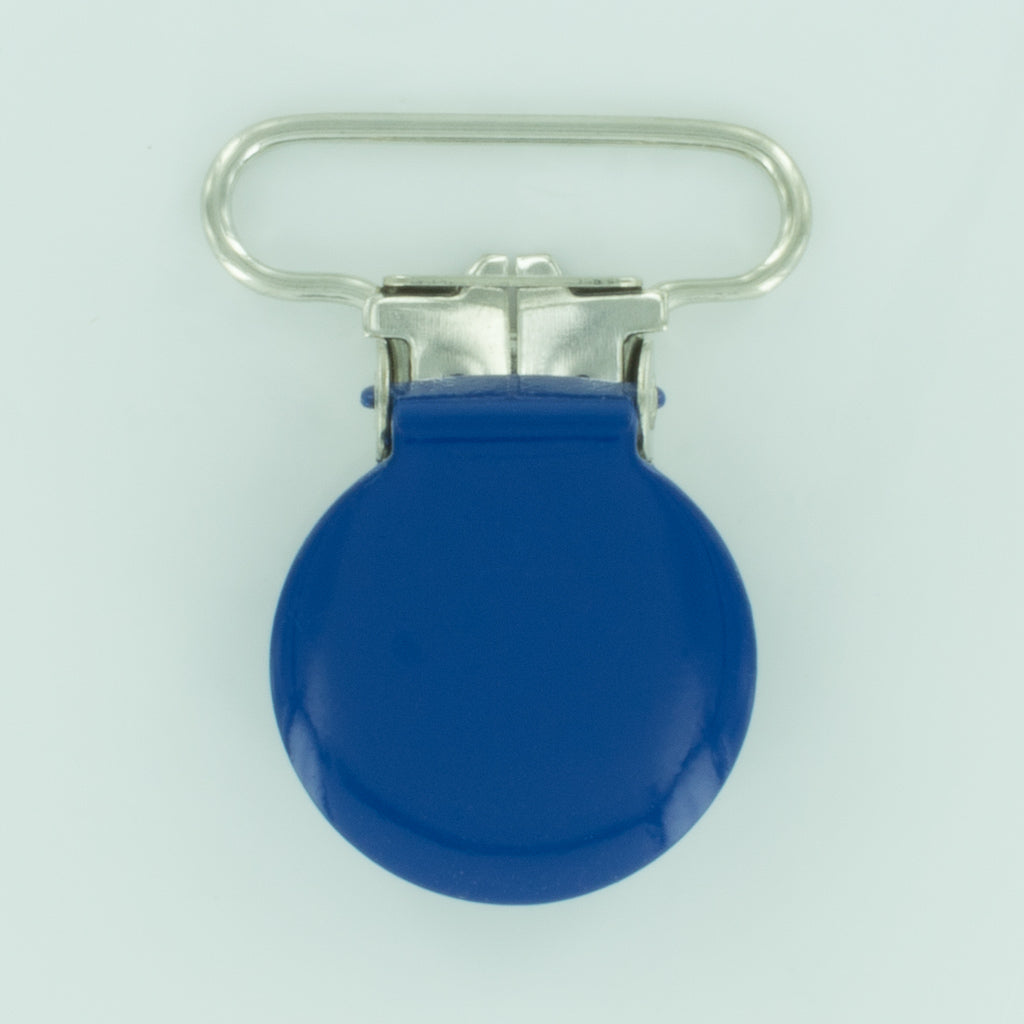 "1"" (25mm) Round Shaped Enameled Metal Clips (B16 - Royal Blue)"