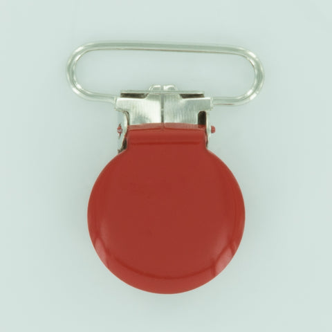 "1"" (25mm) Round Shaped Enameled Metal Clips (B38 - Deep Red)"