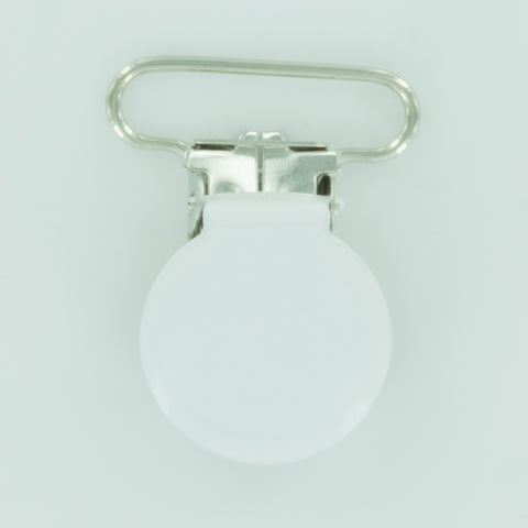 "1"" (25mm) Round Shaped Enameled Metal Clips (B3 - White)"