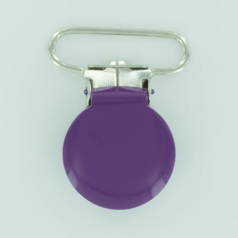 "1"" (25mm) Round Shaped Enameled Metal Clips (B41 - Violet)"
