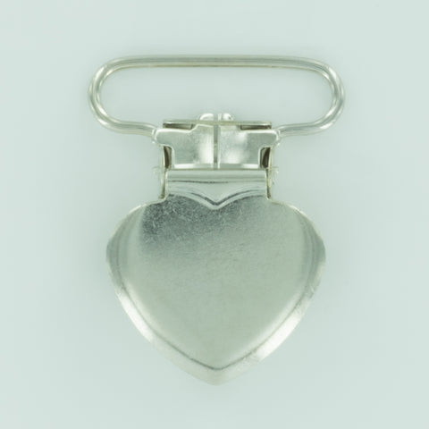 "1"" (25mm) Heart Shaped Metal Clips (B45 - Silver)"