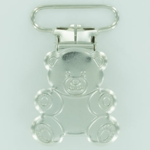 "1"" (25mm) Teddy Bear Shaped Metal Clips (B45 - Silver)"