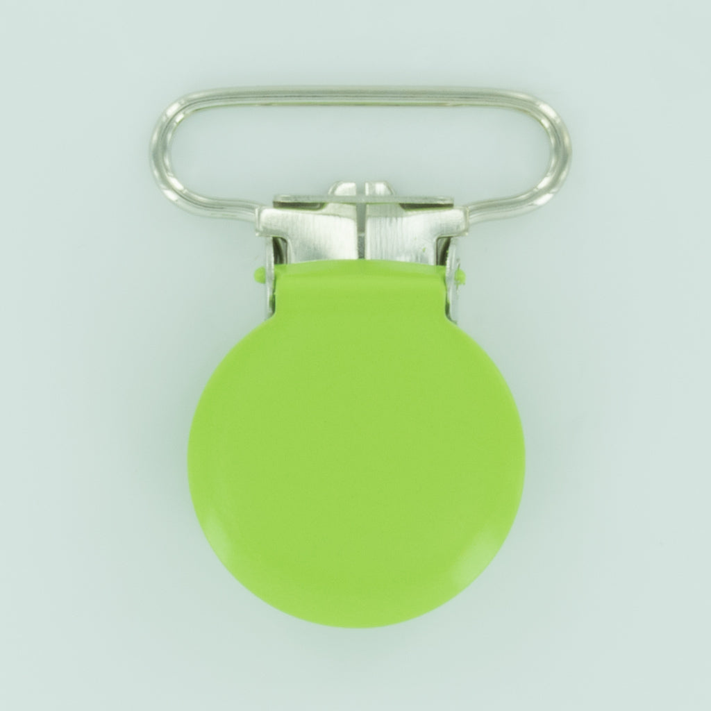 "1"" (25mm) Round Shaped Enameled Metal Clips (B50 - Lime Green)"