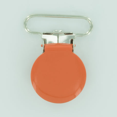 "1"" (25mm) Round Shaped Enameled Metal Clips (B55 - Orange)"