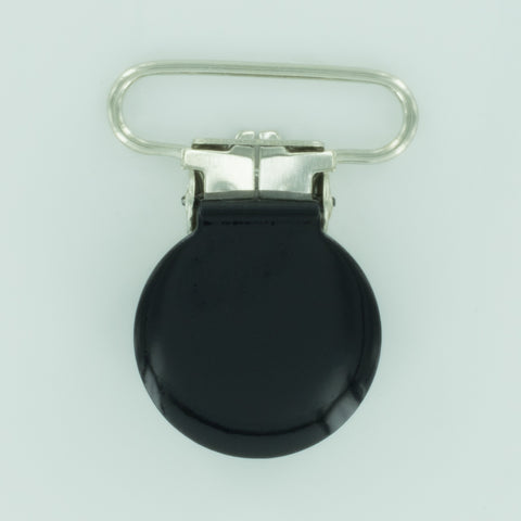 "1"" (25mm) Round Shaped Enameled Metal Clips (B5 - Black)"