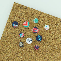 "DIY Size 30 (3/4"" (19 mm) Covered Button Push Pins/Thumb Tacks KIT - Makes 10"