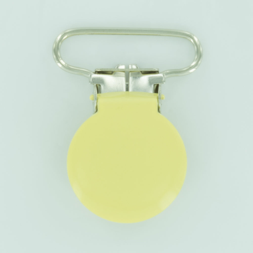 "1"" (25mm) Round Shaped Enameled Metal Clips (G76 - F Butter)"