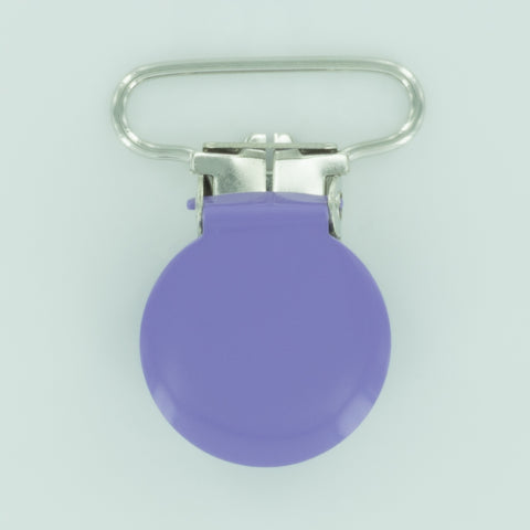 "1"" (25mm) Round Shaped Enameled Metal Clips (G79 - F Lavender)"