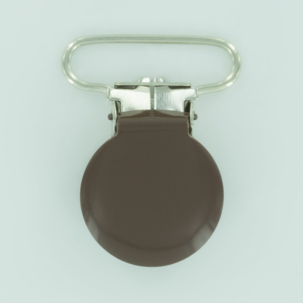 "1"" (25mm) Round Shaped Enameled Metal Clips (G89 - GD Milk Chocolate)"