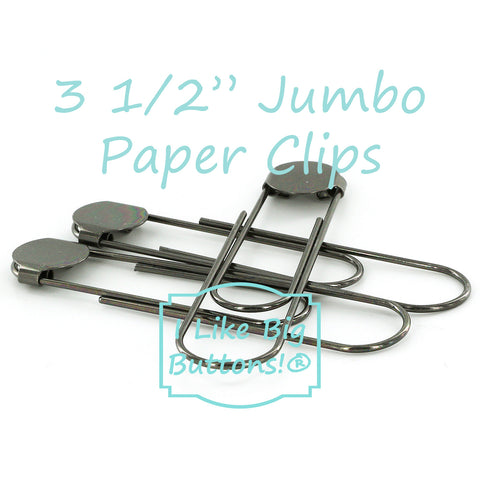 "3 1/2"" (8.9 cm) Gunmetal Jumbo Paper Clips with Glue Pads"