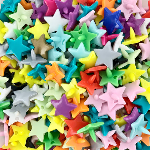 STAR Mixed Bag: 100 Kam Snaps/Plastic Snaps Sets (Star Shaped)