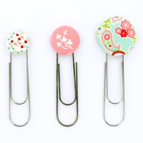 "DIY - SMALL - Size 36 (7/8"" (23 mm) Covered Button Paper Clips/Bookmarks KIT - Makes 10 - Choose Finish"
