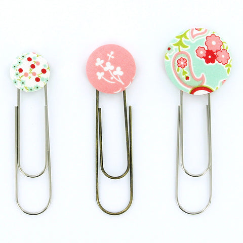 "DIY - LARGE - Size 60 (1 1/2"" (38 mm) Covered Button Paper Clips/Bookmarks KIT - Makes 10"