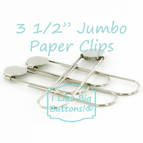 "3 1/2"" (8.9 cm) Silver Jumbo Paper Clips with Glue Pads"