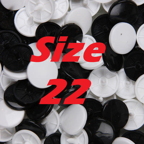 "Size 22 Glossy KAM Snaps (0.55"" / 14.1 mm)"