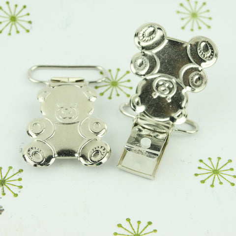 "Teddy Bear Shaped Metal Pacifier Clips (1"" / 25 mm)"