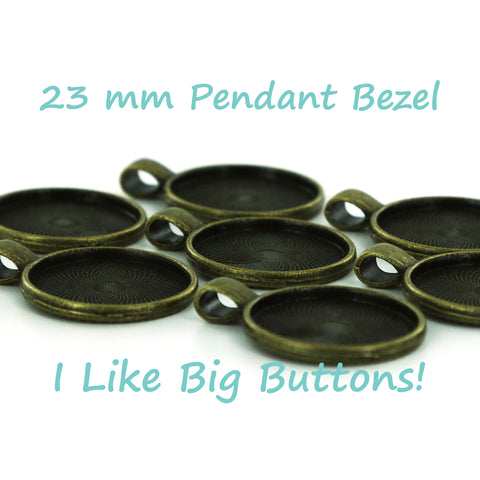"Antique Brass 7/8"" (23 mm) Round Pendant Bezel"