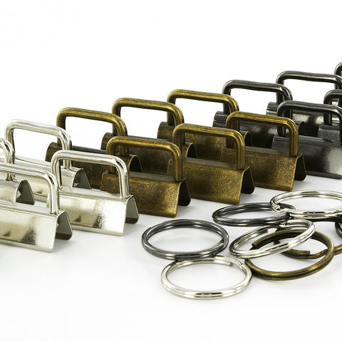 15 Sets - Key Fob Hardware with Split Rings BZR