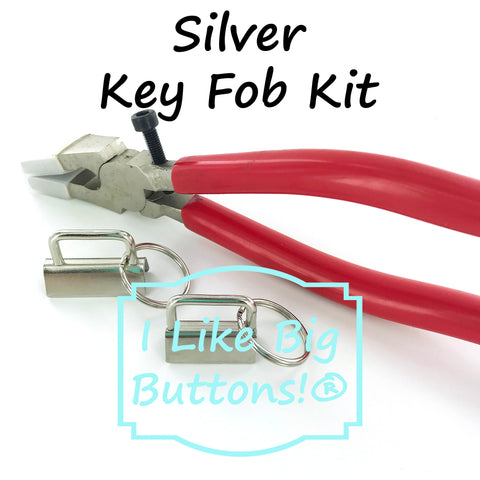 "1"" and 1.25"" - Key Fob Hardware Starter KIT - SILVER (20 Sets Total) Wristlets/Key Chain"