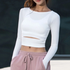Yoga Long-Sleeve Slit Crop Top