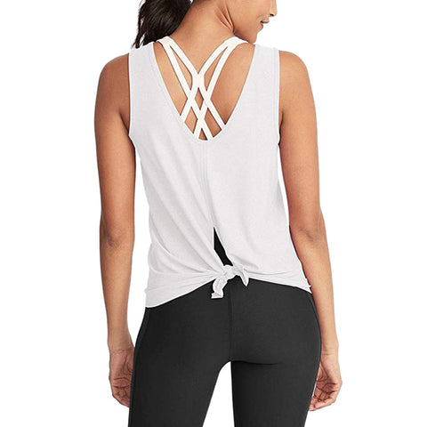 Casual Knotted Strap Yoga Top