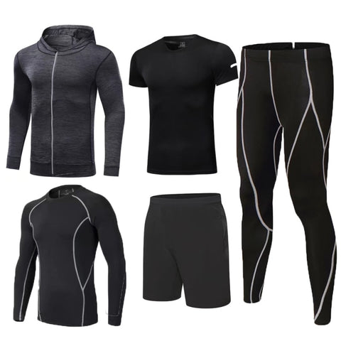 Men's Five Piece Complete Crossfit Compression Set