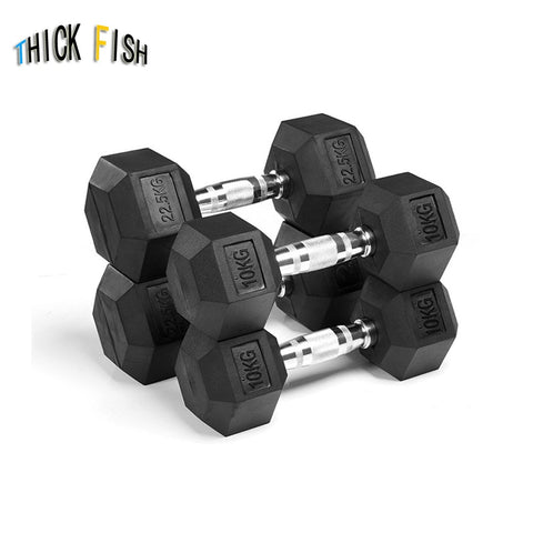 Hexagonal Rubberized Dumbbell