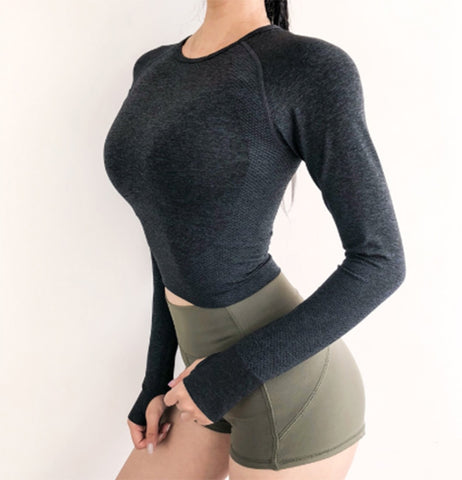 Lavish Long-Sleeve Crop Top