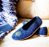 Natural Felt and Real Leather Slippers - Bird and Bee Naturals