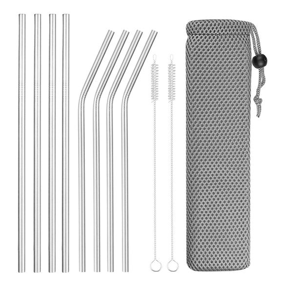 Stainless Steel Drinking Straw Set - Reusable - Bird and Bee Naturals