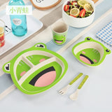 5pcs/set -  Kids Natural Bamboo Dinnerware - Bird and Bee Naturals