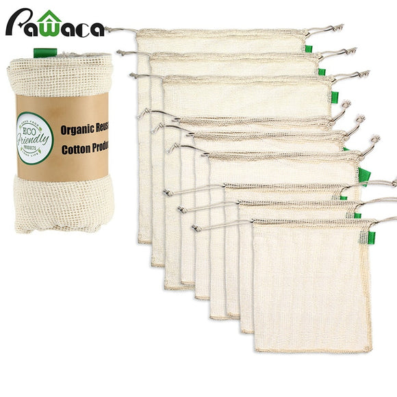 Organic Cotton Mesh Produce Bags Reusable - 9pcs/set - Bird and Bee Naturals