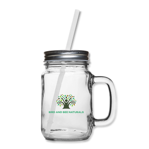 Mason Jar Glass with Reusable Drinking Straw. - Bird and Bee Naturals