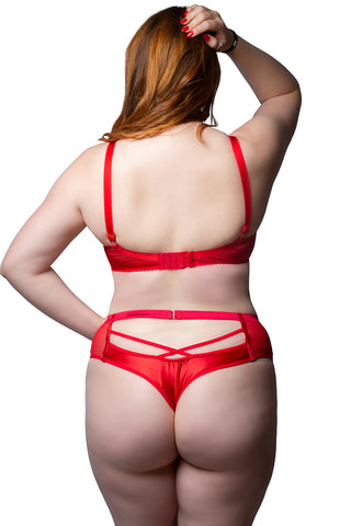 red fuller figure romantic enchantress high waisted thong lingerie