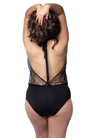 Sheer lace open back fuller figure lingerie