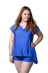 blue soft satin feel lingerie fuller figure fuller bust loungewear