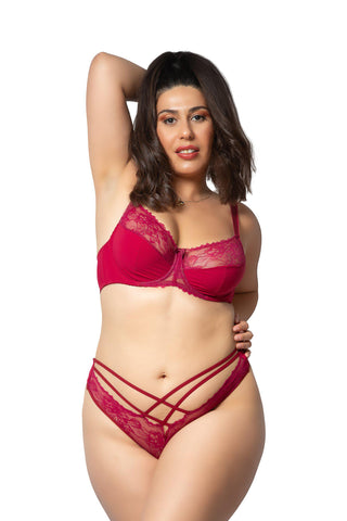 red fuller figure lace curuis lingerie