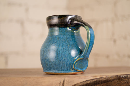 Black and Cerulean Soda-Fired Mug