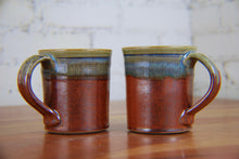 Load image into Gallery viewer, Straight-Walled Mugs in Rust Red and Breakfast Blue