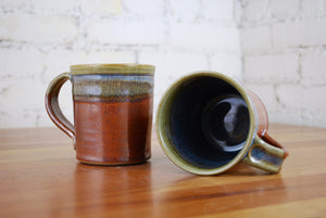 Straight-Walled Mugs in Rust Red and Breakfast Blue