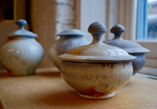 A Wood Fired Porcelain Lidded Bowl