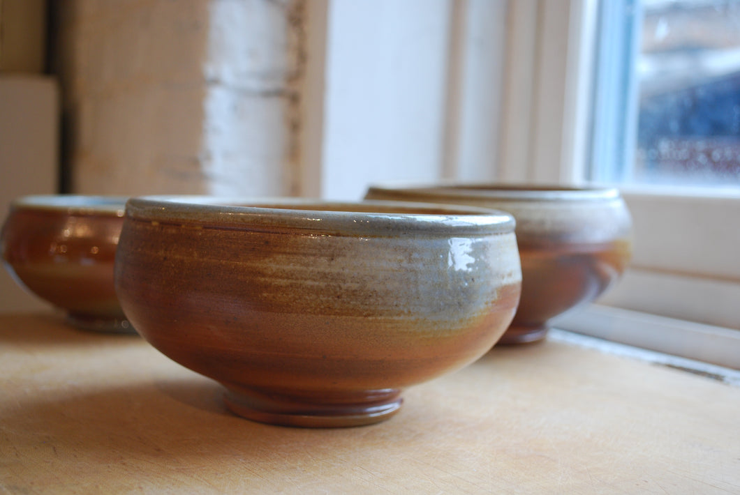 A Wood Fired White Stoneware Bowl