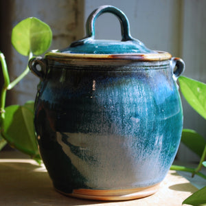 A Soda Fired Lidded Container