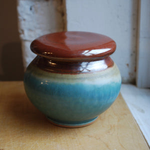 Turquoise Stoneware French Butter Keeper