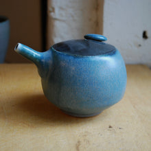 Load image into Gallery viewer, Soda Fired Blue Oil Pouring Cruet