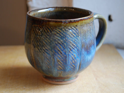 Gas Fired Blue and Red Coffee Mug